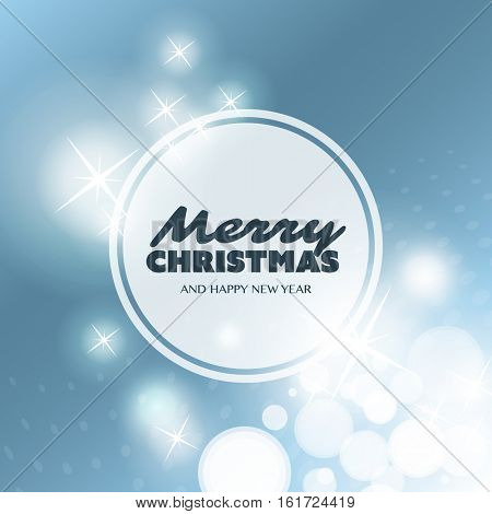 Merry Christmas. Colorful Modern Style Happy Holidays Greeting Card Design with Round Transparent Label on Sparkling Bright Blurred Background