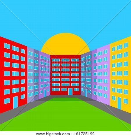 City Yard in the Morning. Abstract Multicolored City Landscape.