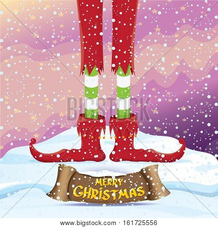 vector creative merry christmas greeting card with cartoon elfs legs on snowy north pole with christmas lights and greeting calligraphic text on old vintage paper banner ribbon.