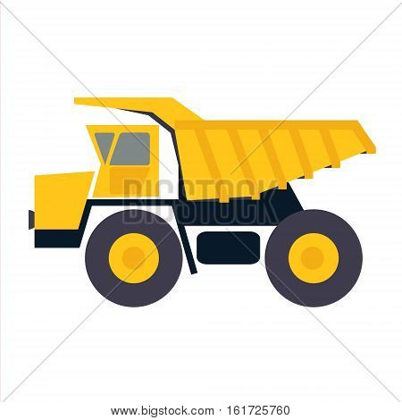 Haul or dump truck vector icon. Dumper or tipper symbol. Mining and construction machinery for transporting sand gravel or dirt. Industrial lorry or tip truck sign.