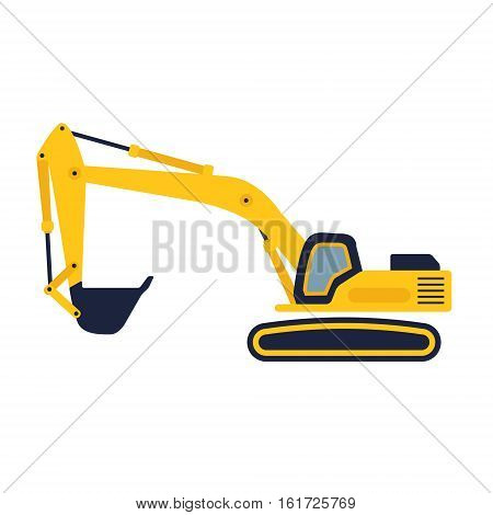 Hydraulic mining excavator vector icon. Heavy construction equipment symbol with boom dipper and bucket. Construction machinery for digging sand gravel or dirt. Industrial digger or trackhoe sign.