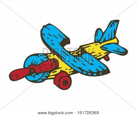 Wooden Toys Aircraft. Isolated on White Background