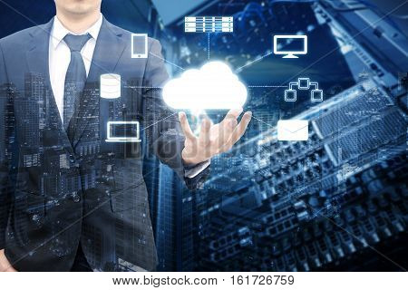 Double Exposure Of Professional Businessman Connecting Network On Hand In Cloud Technology, Communic