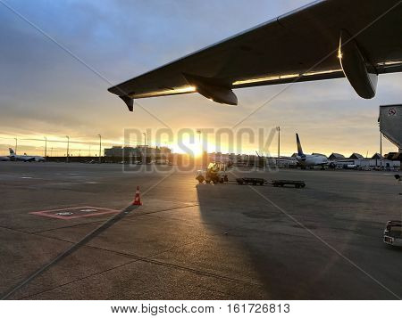 MUNICH - DECEMBER 14: Aircraft operations at Munich International Airport in the afternoon on December 14, 2016 in Munich, Bavaria, Germany.