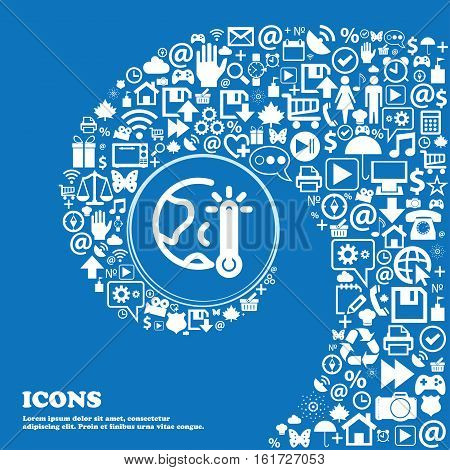 Global Warming, Ecological Problems And Solutions, Thermometer Icon Sign. Nice Set Of Beautiful Icon