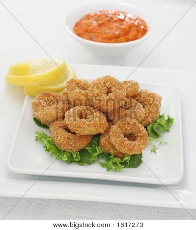 Baked Squid Rings With Sweet Pepper Dip - Calamari Appetizer