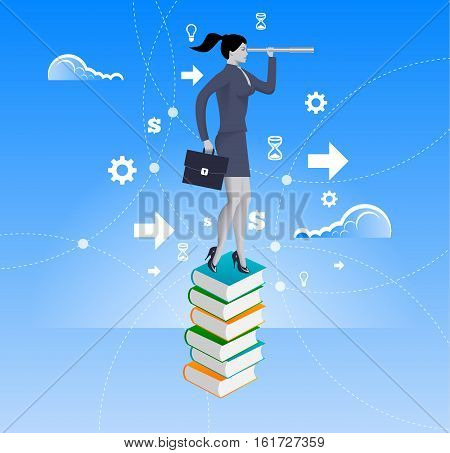 Power of knowledge business concept. Confident business woman in suit with case stand on top of book pile with looking glass. Search for opportunity contacts new fields development.
