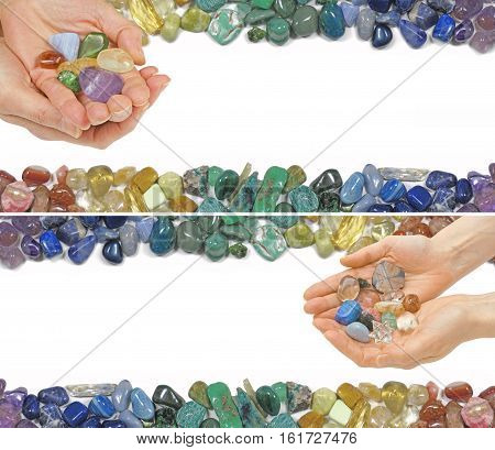 Two Crystal Healing Website Banners -  Two versions of a Crystal Healer holding crystals on a white background with crystals laid at the top and bottom