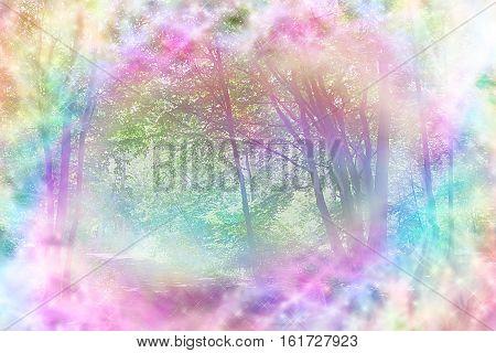 Magical Spiritual Woodland Scene - rainbow colored woodland path scene with streams of rainbow colored sparkling light making a circular frame around the center