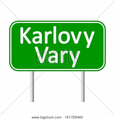 Karlovy Vary road sign isolated on white background.