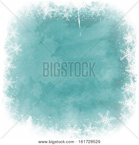 Christmas snowflake border on a watercolor background
