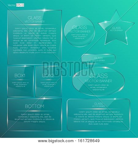 Collection glass banners shine shape template on turquoise background