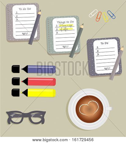 Stationery: The sheets of the planner in a cute polka dots. To Do Lists with little hearts. Stiсkers. Markers. Cup with coffee on saucer. Dark blue glasses. Pencils. Clips. Vector illustration.