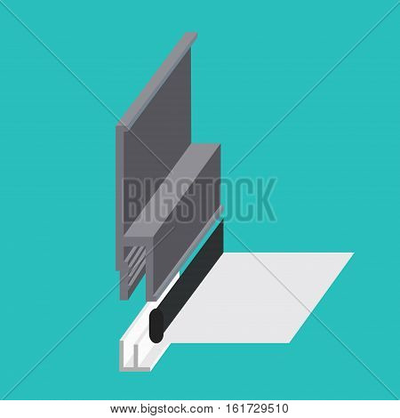 Stretch ceiling fastening profile sectional view model. Dropped or stretched ceiling icon. Vector illustration symbol or sign.