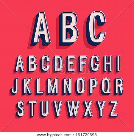 Retro creative colorful cool alphabet. Vector illustration.