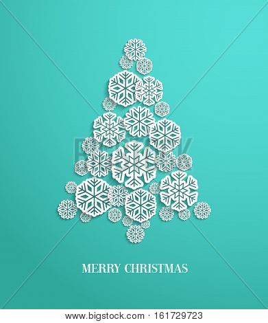 Christmas tree made of paper snowflakes. Vector illustration.