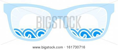 vector waves and sun in sun glasses isolated on white background