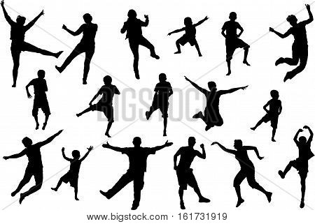 Dancing and jumping childrens and adult people beach party silhouette set