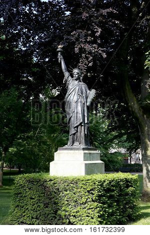 PARIS, FRANCE - JUNE 9, 2013:A copy of the statue of Liberty in the Luxembourg Gardens