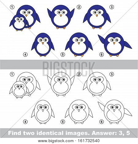 The design difference. Vector visual game for kid education. Simple level of difficulty. Easy educational game. Task and answer. Find two similar Penguins.