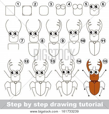 Drawing tutorial for children. Easy educational kid game. Simple level of difficulty. Kid education and gaming. Indoor games for children. How to draw Brown Bug with corns.