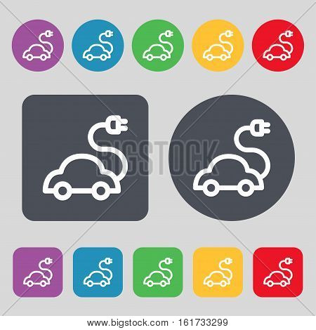 Electric Car Icon Sign. A Set Of 12 Colored Buttons. Flat Design. Vector