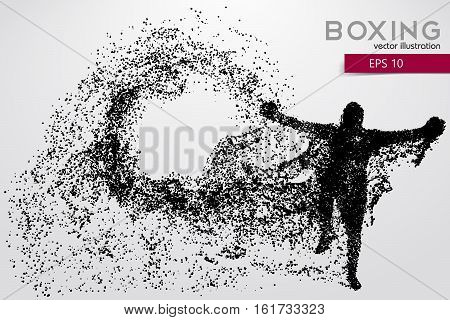Boxer silhouette from particles. Background and text on a separate layer, color can be changed in one click.