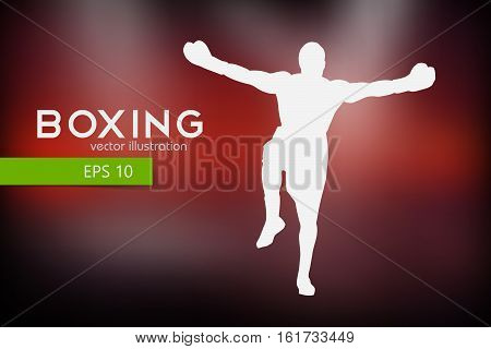 Boxer silhouette. Background and text on a separate layer, color can be changed in one click.