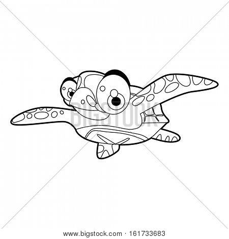 coloring pattern page. Funny cute cartoon animals.  Reptiles. Turtle