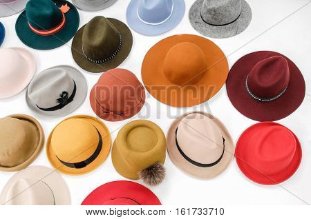 Fedora hat display at an outdoor market