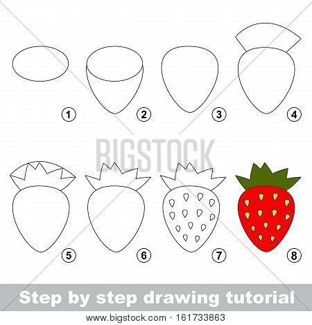 Drawing tutorial for children. Easy educational kid game. Simple level of difficulty. Kid education and gaming. Indoor games for children. How to draw Red strawberry.