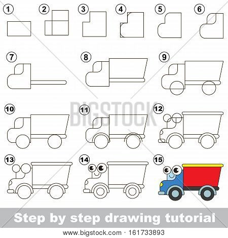 Drawing tutorial for children. Easy educational kid game. Simple level of difficulty. Kid education and gaming. Indoor games for children. How to draw the lorry.