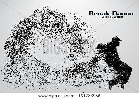 Silhouette of a break dancer from particles. Background and text on a separate layer, color can be changed in one click