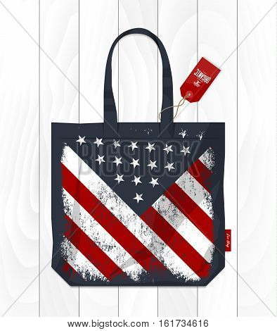 Vintage United States of America flag printed on eco bag. Fabric USA handbag isolated on white wooden background. Premium quality Stars and Stripes burlap shopping bag vector illustration mockup.