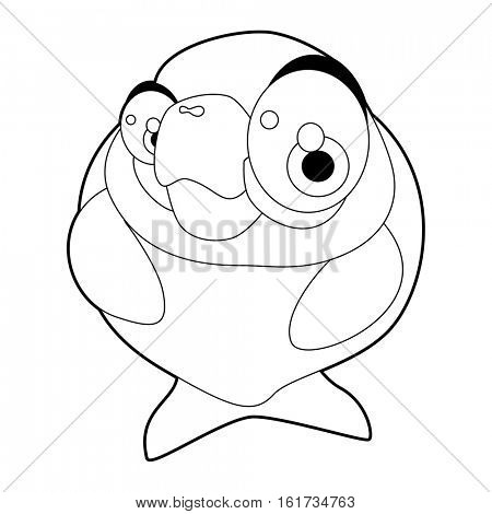 coloring pattern page. Funny cute cartoon sea animals. Manatee