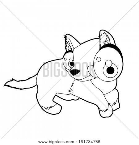 coloring pattern page. Funny cute cartoon Australian animals. Dingo Puppy