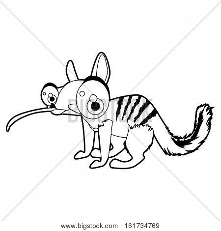 coloring pattern page. Funny cute cartoon Australian animals. Possum