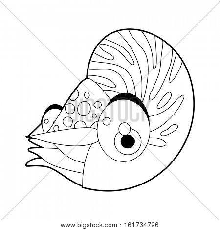coloring pattern page. Funny cute cartoon sea animals. Nautilus