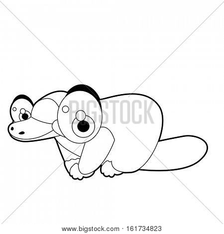 coloring pattern page. Funny cute cartoon Australian animals. Platypus