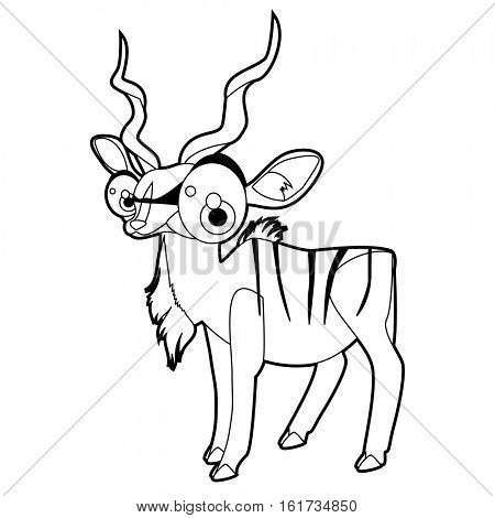 Coloring cute cartoon animals collection. Cool funny illustration of Kudu Antelope