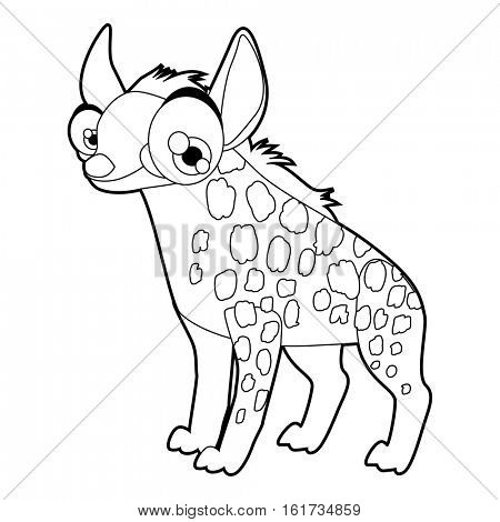 Coloring cute cartoon animals collection. Cool funny illustration of Hyena