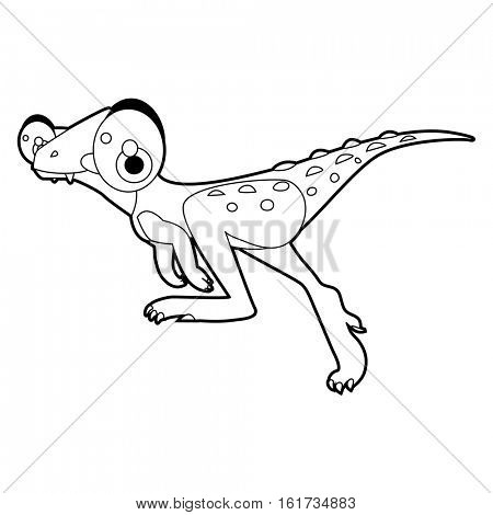 Coloring Cool Cartoon Funny Dinosaur Illustration Velociraptor