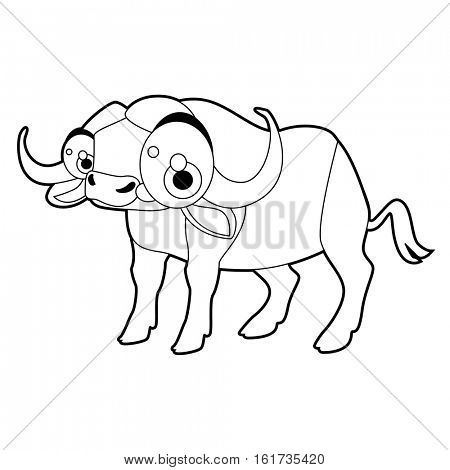 Coloring cute cartoon animals collection. Cool funny illustration of Buffalo