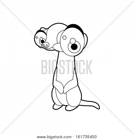 Coloring cute cartoon animals collection. Cool funny illustration of Meerkat