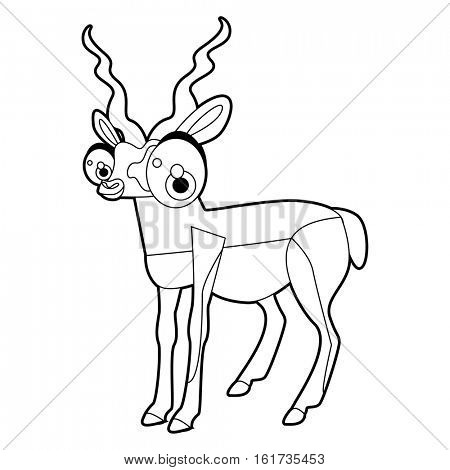 Coloring cute cartoon animals collection. Cool funny illustration of Antelope