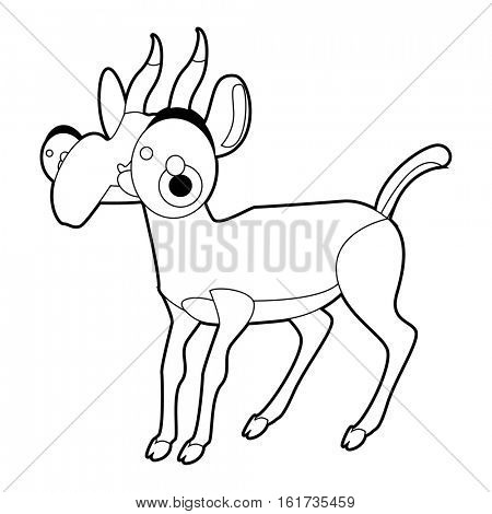 Coloring cute cartoon animals collection. Cool funny illustration of Saiga antelope