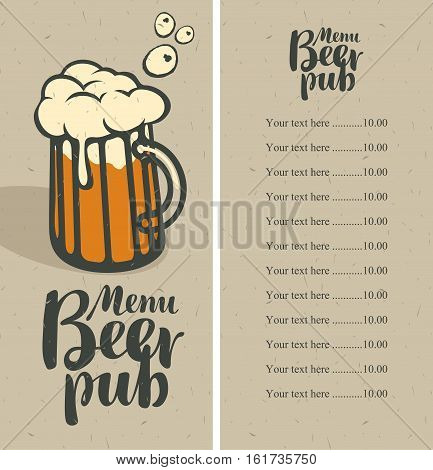 menu with price list for a pub with a glass of beer