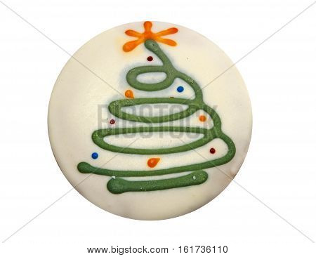 Homemade Christmas tree cookie with decorative icing