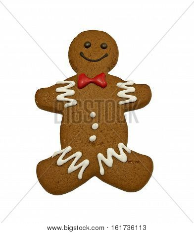 My homemade gingerbread cookie with decoration on a white background