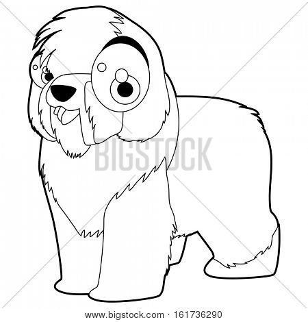vector funny coloring animal character book collection. Cool cute cartoon flat thin line style illustration of Bobtail